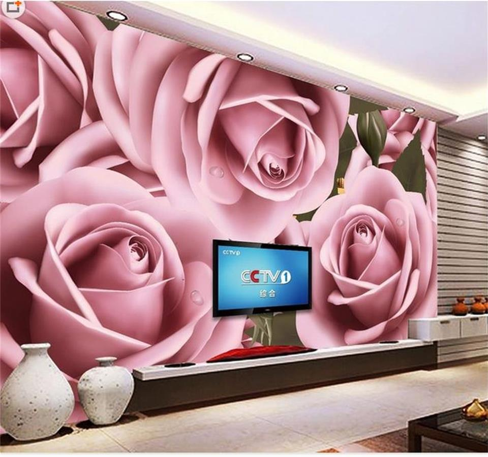 custom 3d photo wallpaper mural living room large pink rose flower water painting sofa TV background wall non-woven wall sticker custom 3d stereoscopic large mural wallpaper bedroom living room tv background fabric wall paper non woven wall painting rose
