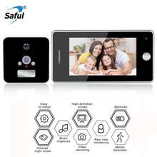 Saful 4.3 Digital Doorbells with Camera Door peephole Monitor Viewer Video-eye Intercom Night Vision for Home Security saful 4 3 inch door viewer digital zinc alloy doorbell with night vision motion detection video peephole door camera