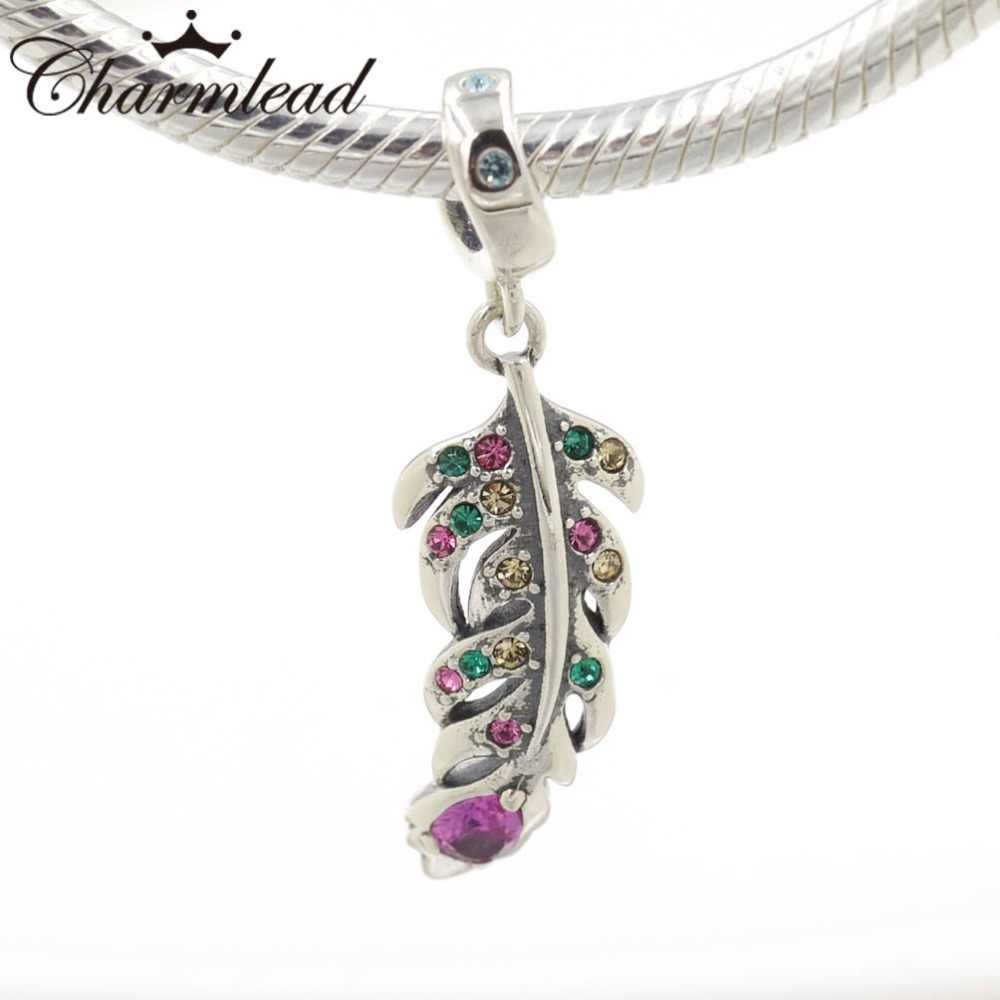 cf22a3be4 ... Peacock Feather Charm Pendant 925 Sterling Silver Charms with Color  Stone Fits Pandora Bracelet DIY Women ...