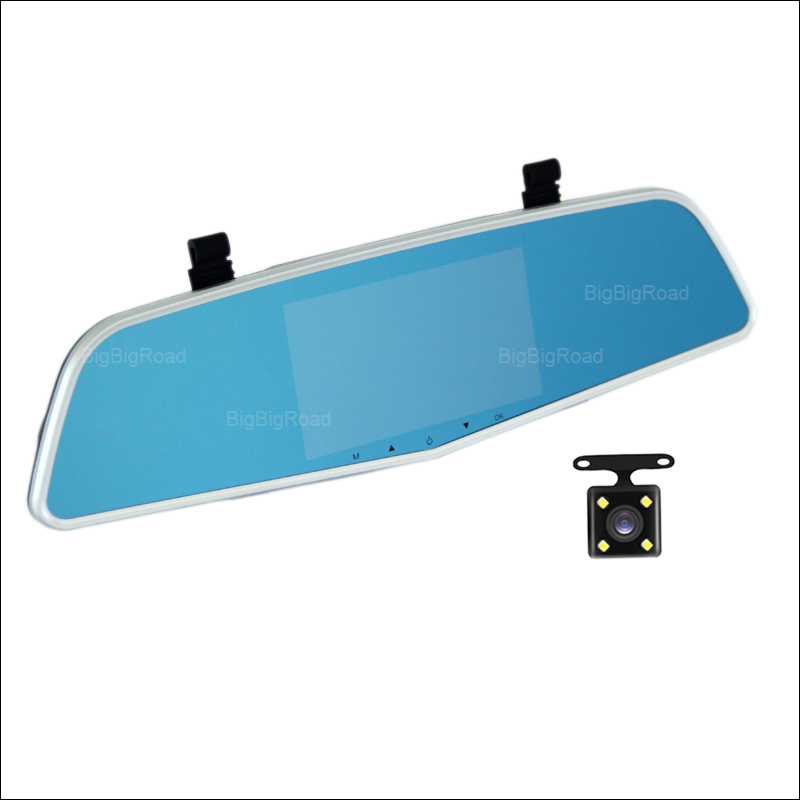 BigBigRoad For ford kuga mondeo fusion Car DVR Rearview Mirror Video Recorder Dual lens Novatek 96655 5 inch IPS Screen bigbigroad for chevrolet orlando car rearview mirror dvr video recorder dual cameras novatek 96655 5 inch ips screen dash cam
