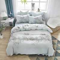 4 piezas de lujo Tencel princesa ropa de cama reina doble cama de verano suave cama individual edredón cubierta