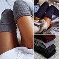 1 Par 6 Cores de Moda de Nova Mulheres Estoques Sexy Longo meias Coxa Alta Planície Mais de Estiramento No Joelho Malha Botas Overknee meias