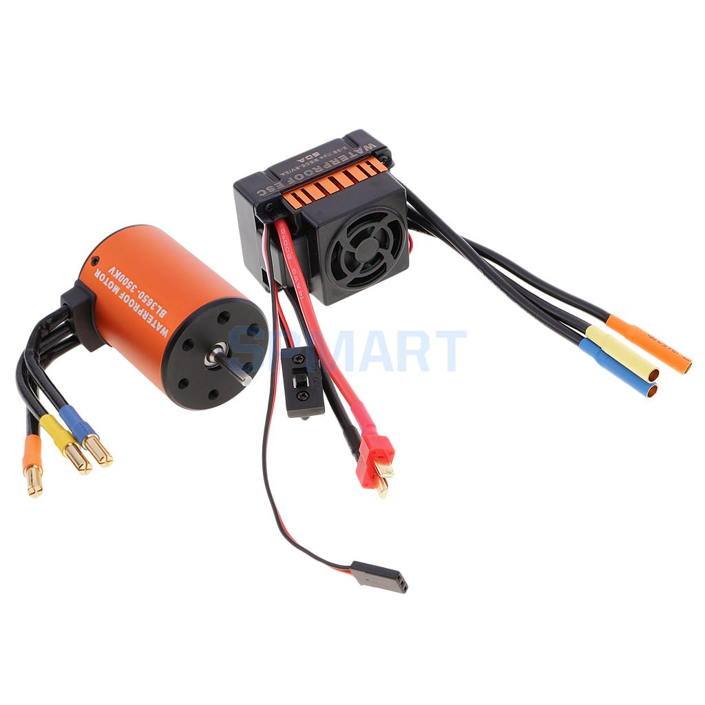 Waterproof 3650 3500KV Brushless Motor+60A ESC Combo Set for 1/10 RC Car Truck Crawler surpass hobby upgrade waterproof 3650 3900kv rc brushless motor with 60a esc combo set for 1 10 rc car truck motor kit
