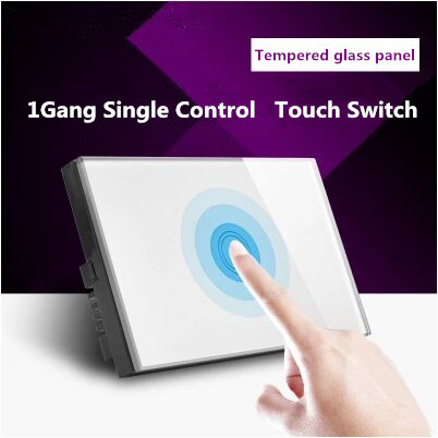 HUANGXING US Standard Touch Switch, 1Gang1Way White/Gold Pearl Crystal Glass Panel Wall Light Switch, With LED Indicator,MG-US01 smart home us au wall touch switch white crystal glass panel 1 gang 1 way power light wall touch switch used for led waterproof