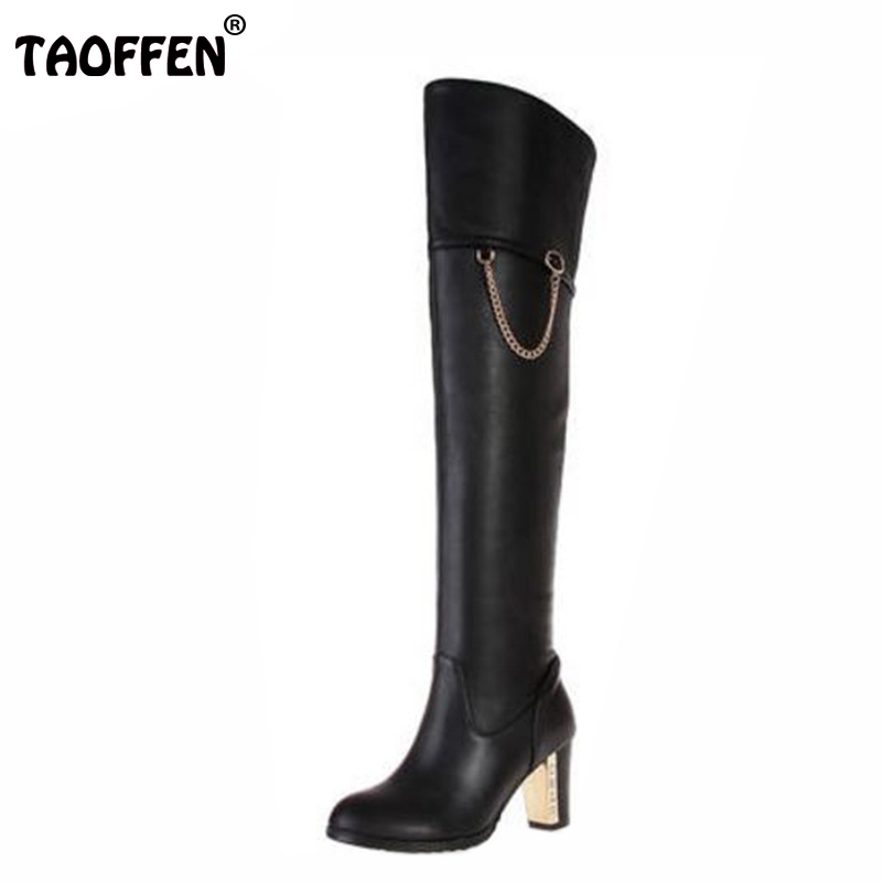 Free shipping over knee natrual real genuine leather high heel boots women snow winter warm shoes R1535 EUR size 30-45