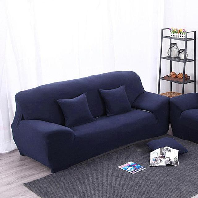 Arm Chair Two Seater Love Seat Sofa Cover Slipcover Stretch Lounge Couch  Protector Solid Color Navy
