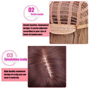Image 5 - Yiyaobess peluca sintética de estilo coreano, pelo largo medio con flequillo, raíces oscuras, degradado, lino, gris, Natural, liso, para mujer