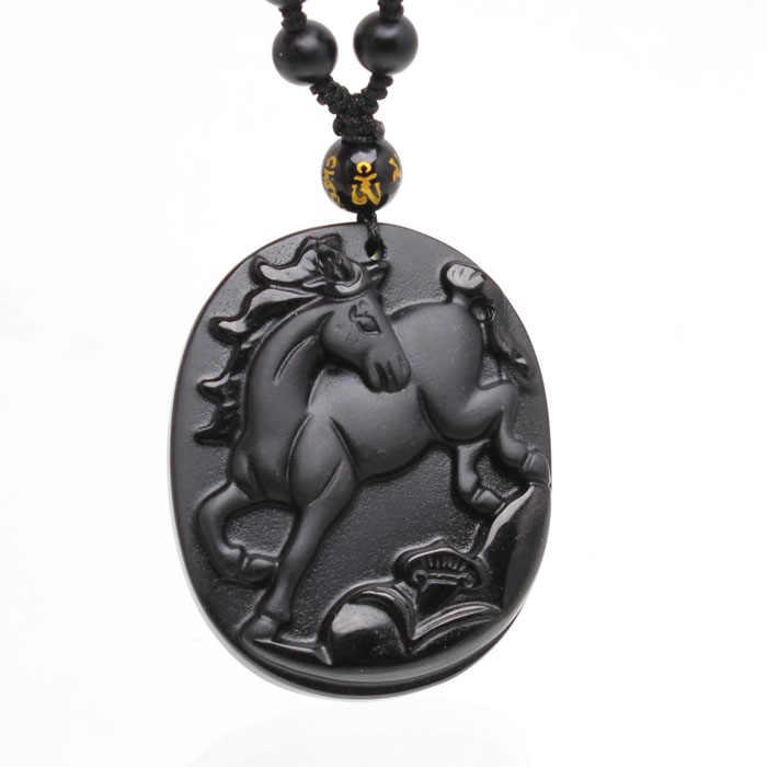 美しい中国手仕事ナチュラルブラック黒曜石彫刻ランニング馬ラッキーペンダントネックレス細かいファッションお守りジュエリー