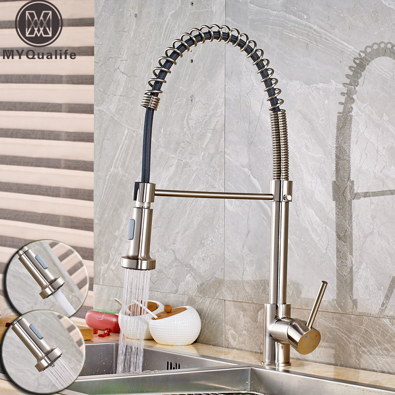 Brushed Nickel Pull Down Kitchen Sink Faucet Single Lever Dual Sprayer Stream Function Bathroom Kitchen Hot and Cold Water Taps chrome pull down bathroom kitchen taps single handle brass hot and cold kitchen sink faucet stream sprayer washing crane faucet