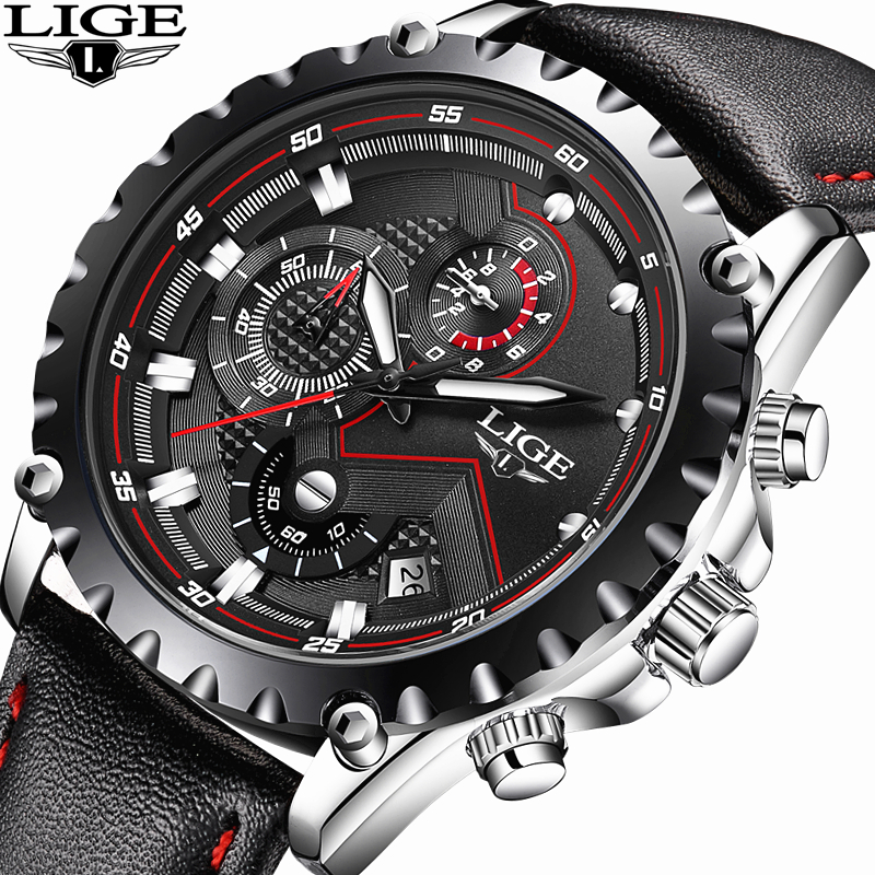 LIGE Mens Watches Top Brand Luxury Quartz Watch Men Casual Waterproof Stopwatch Chronograph Clock Sports Watch Relogio Masculino