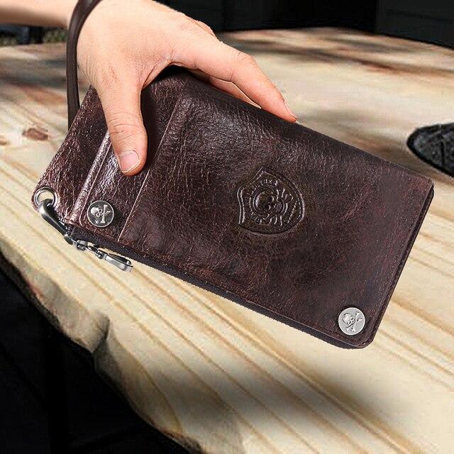 CONTACT'S Men's Wallet Genuine Leather Clutch Man Walet Brand Luxury Male Purse Long Wallets Zip Coin Purse  6.5 5