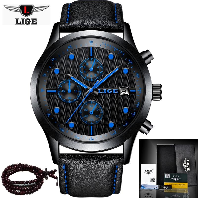 LIGE Top Luxury Brand Chronograph Sport Mens Watches Fashion Brand Military Waterproof Quartz Watch Clock Men Relogio Masculino xinge top brand luxury leather strap military watches male sport clock business 2017 quartz men fashion wrist watches xg1080