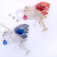 High Quality Flamingo Brooches for Women Luxury Zircon Red Blue Enamel Pins Fashion Crystal Animals Jewelry Bird Brooch Gift