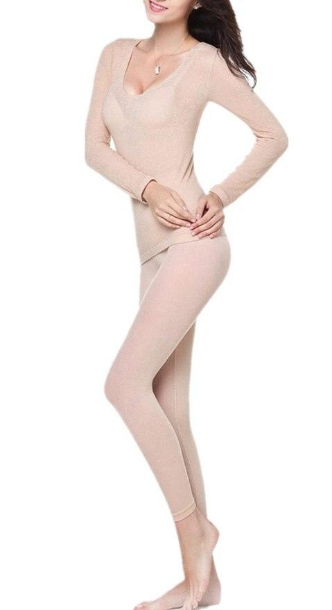 Women's Round Neck Stretch Seamless Top & Bottom Sexy Thermal Underwear Set