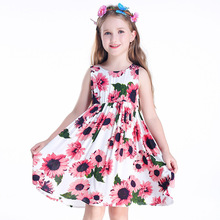 2018 New Summer Children's Dresses Printed Sweet Style Kids Beach Dresses Holiday Leisure Dress for Outgoing children s dresses new girls dresses printed rural children s beach dresses holiday wind factory direct sales spot