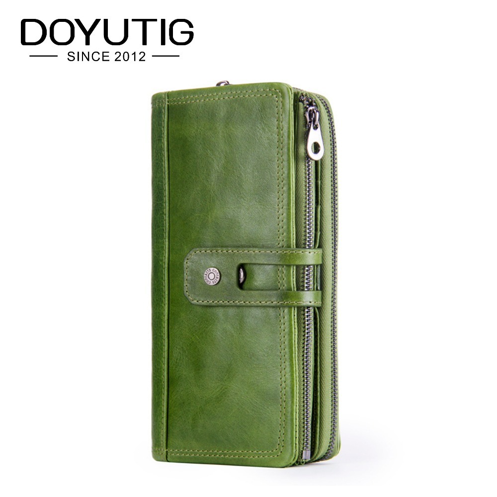 DOYUTIG Brand Green Color Wallets 100% Genuine Cowhide Leather High Quality Women Long Wallet Coin Purse Vintage Wallets A159 new luxury brand 100% top genuine cowhide leather high quality men long wallet coin purse vintage designer male carteira wallets