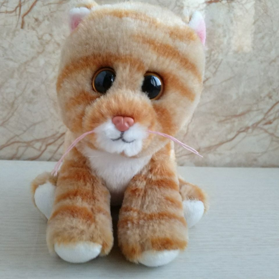 1pc 15cm Ty Beanies Cleo Gold Tabby Cat Plush Toy Stuffed Animal