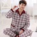 Spring fall cotton pajamas men Set long sleeve Sleepwear Plaid shirt + pants suit Nightclothes men pyjama big size L-3XL 6 color