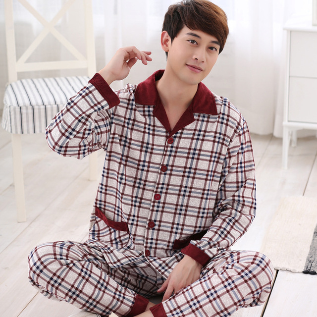Spring fall cotton pajamas men Set long sleeve Sleepwear Plaid shirt + pants suit Nightclothes men pyjama big size L-3XL 6 color