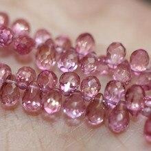 Один кусок россыпью бусины розовый топаз капля граненый 7-8 мм для DIY ювелирных изделий FPPJ бусины Природный драгоценный камень