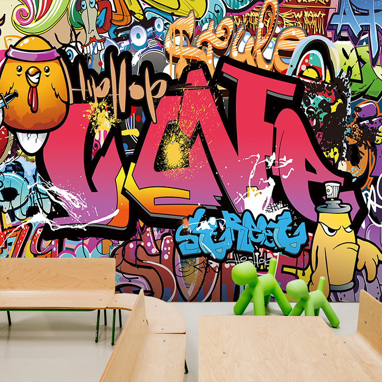 Graffiti Art Wallpapers Group 71: Free Shipping 3D Custom Street Art Graffiti Wallpaper Yoga