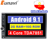Eunavi Universal 2 din Quad core 7'' Android 9.1 Car Radio Stereo multimedia Player WIFI 2din GPS Navigation USB SWC TDA7851