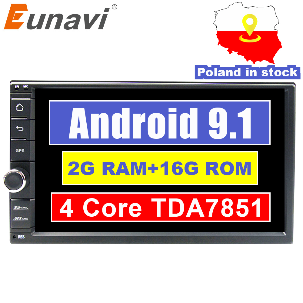 Eunavi universel 2 din Quad core 7 ''Android 9.1 autoradio stéréo lecteur multimédia WIFI 2din GPS Navigation USB SWC TDA7851