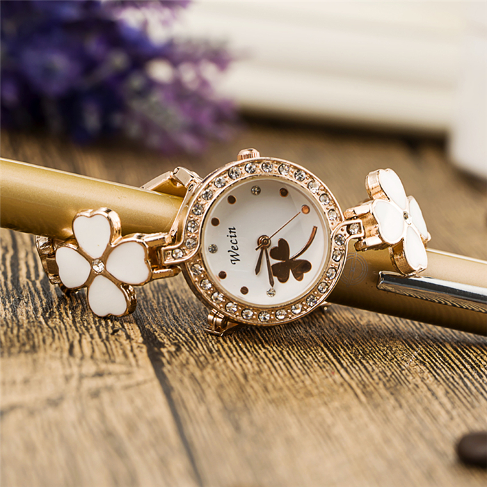 2016 Fashion Women Luxury Brand Rhinestone Crystal Four Leaf font b reloj b font mujer Lady