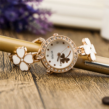 2016 Fashion Women Luxury Brand Rhinestone Crystal Four Leaf reloj mujer Lady Bracelet Quartz Diamonds wristwatches