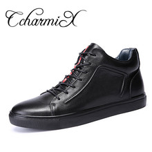 CcharmiX Big Size 38-48 Autumn Winter Men Shoes Boots Casual Fashion High-Cut Lace-up Warm Genuine Leather Mens Moto Botas Black