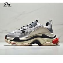 цена 2019 new excellent quality customize brands BAL gray Triple S Sneakers  men's sports sneakers EU42 онлайн в 2017 году