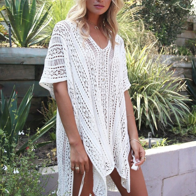 c663d2c0a3 13 color short sleeve beach cover up V neck hollow out knitted crocheted  beach dress tunics for bikini swimsuit beach wear pareo