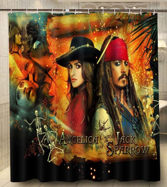 piraten van de caribbean film stof moderne klassieke custom douchegordijn waterdicht 160x180 cm badkamer gordijn met