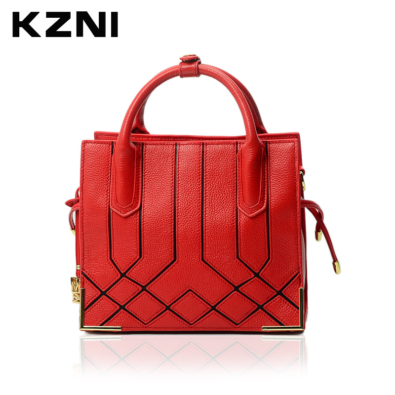 KZNI Women Bag Leather Handbag Brief Shoulder Bags Female Top-handle Bags Bolsas Femininas Fashion Handbags 2017 1376 сумка через плечо bolsas femininas couro sac femininas couro designer clutch famous brand