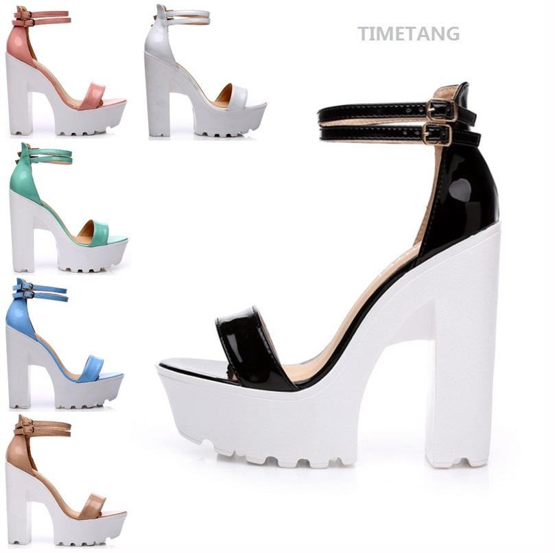 TIMETANG 2018 Summer New Fashion Candy Color Thick High Heels Sandals Concise Word Belt Peep Toe Comfortable Sandals Size 35-41
