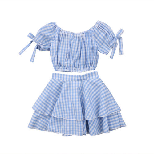 fe73608b125 Kids Baby Girl Plaid Off Shoulder Crop Top +Mini Skirt Outfits Clothes  Summer 2Pcs Kid Girls Clothing Set