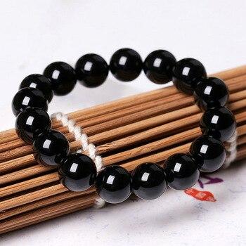 Fashion AAA Agates Bracelet Women Men Jewelry 4/6/8/12/14/16mm Black Onyx Bead Yoga Bracelets & Bangle Pulseira Masculin 4