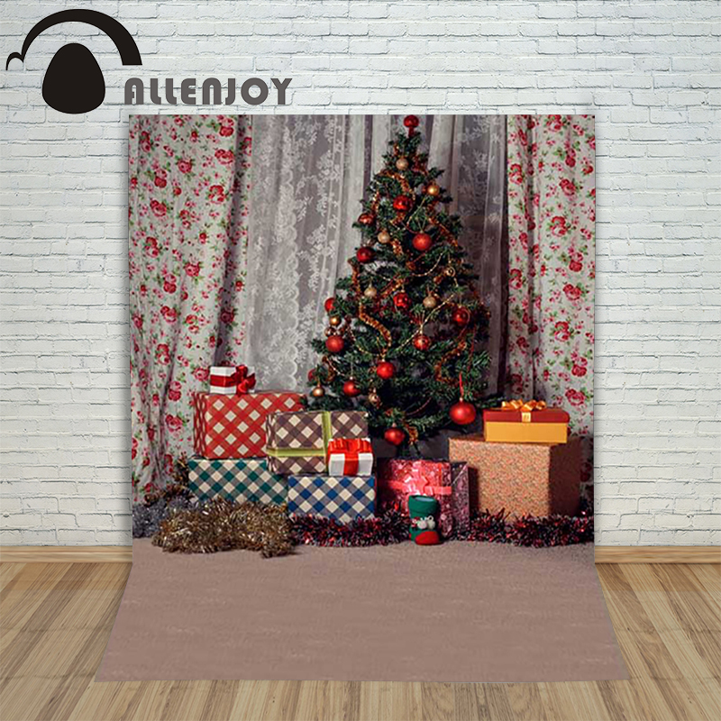 Background photography studio Christmas xmas tree gift curtains lantern background for photo shoots vinyl children's new year christmas tree backdrop photography allenjoy wooden carpet fireplace xmas tree background photographic studio vinyl camera