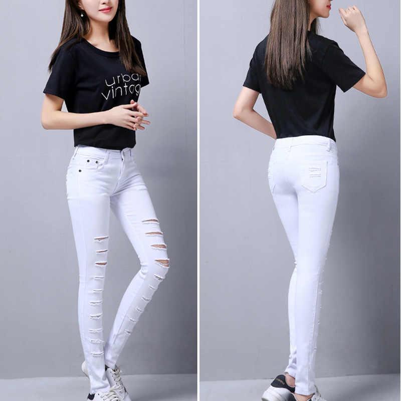 7d17301b975 ... Солнечного света Летний стиль Белый рваные джинсы Для женщин Джеггинсы  классные джинсовые высокие брюки с высокой