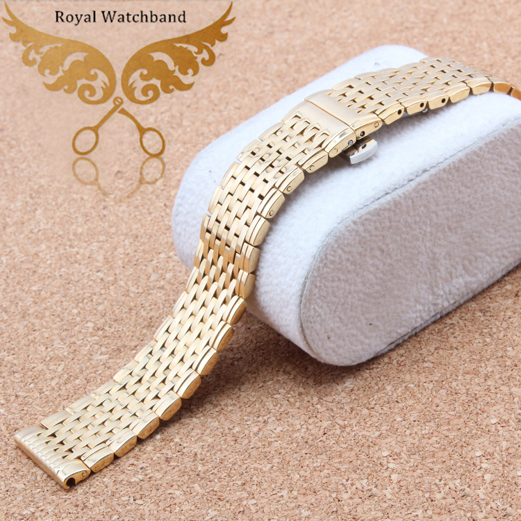 13mm 18mm Watch band strap Bracelets Gold Stainless Steel Deployment Clasp Bracelets
