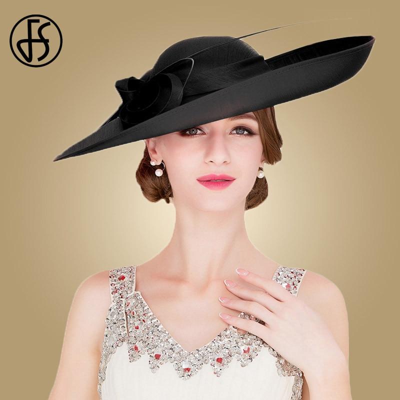 Sombreros de boda de las señoras Rojas reales de FS sombreros de las mujeres negras grandes del ala grande del sombrero de fiesta de la iglesia del Derby de Kentucky - 2