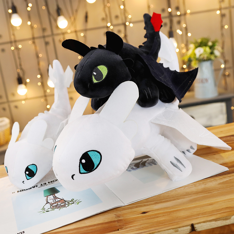 Como entrenar a tu dragon 3 Plush Juguete La luz Furia Blanco Dragon Juguete