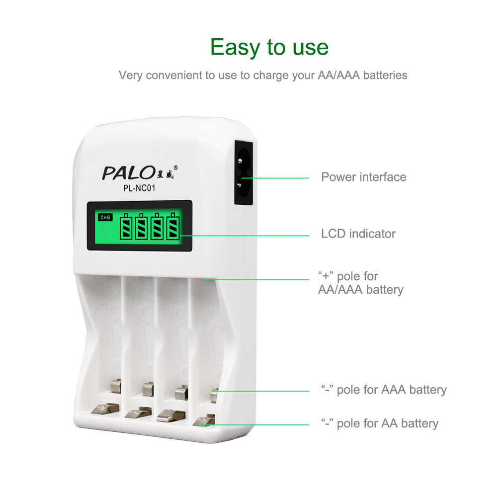 Image 4 - PALO 4 Slots Smart Intelligent Battery Charger Fast Charge For 1.2V AA / AAA NiCd NiMh Rechargeable Battery LCD Display4 slotsbattery chargerchargere for aa -
