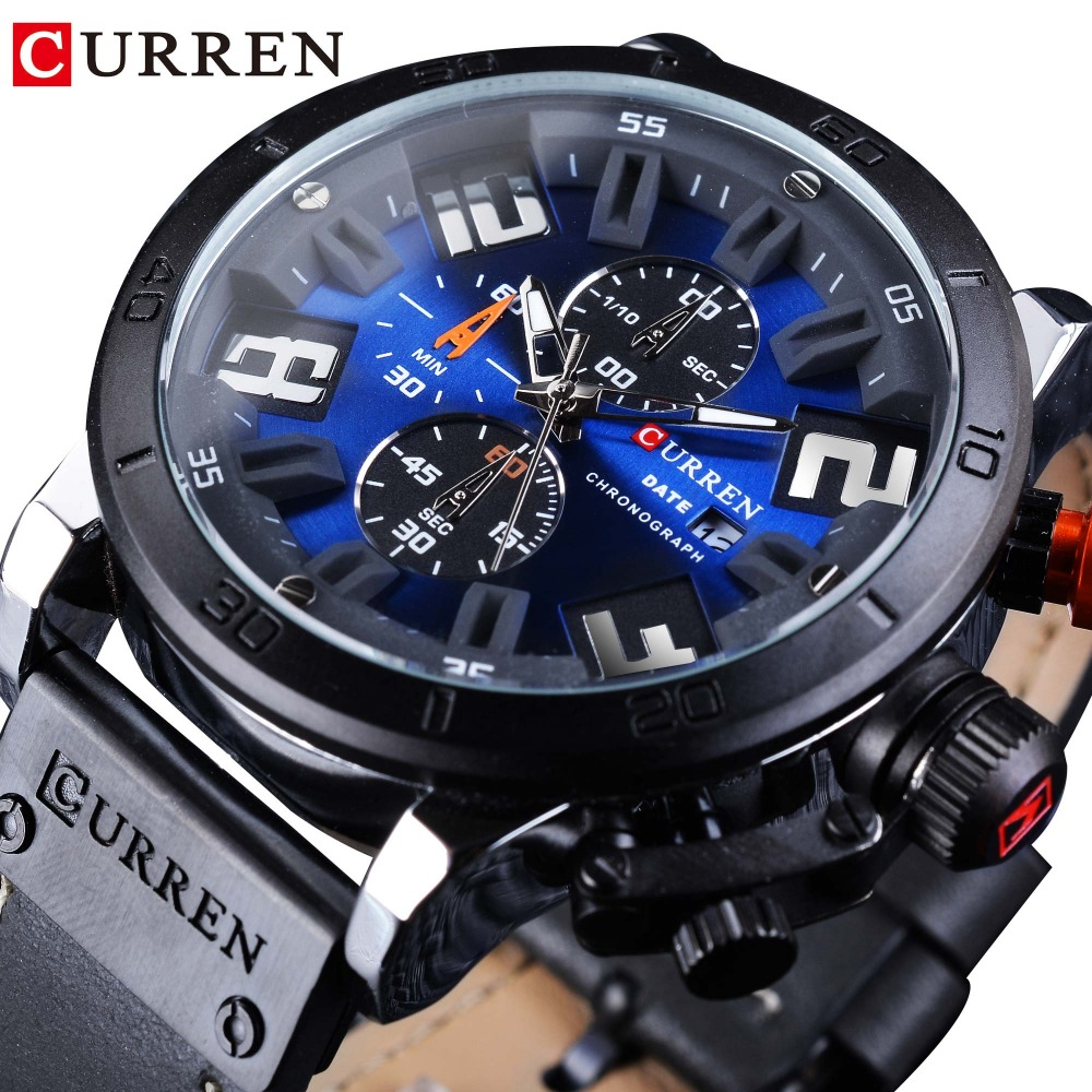 CURREN 2018 Fashion Blue Dial Military Black Leather Calendar Display Chronograph Men Quartz Sport Wrist Watch Top Brand Luxury curren 2018 fashion military brown genuine leather belt chronograph calendar display mens quartz sport watches top brand luxury