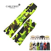 CARLYWET 28mm Camo Waterproof Silicone Rubber Replacement Wrist Watchband Strap Belt Loops Buckles For ROYAL OAK OFFSHORE