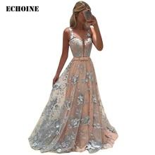 все цены на Summer Dress 2019 Women Flower Embroidery Elegant Evening Party Dress Sheer Mesh Floral Maxi Long Dress Sexy V-neck Vestidos онлайн