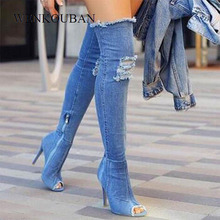 Denim Blau Botas Frauen Oberschenkel Hohe Stiefel Winter Dünne High Heels Frauen Jeans Über Knie Stiefel Peep Toe Schuhe Zapatos de Mujer 2020