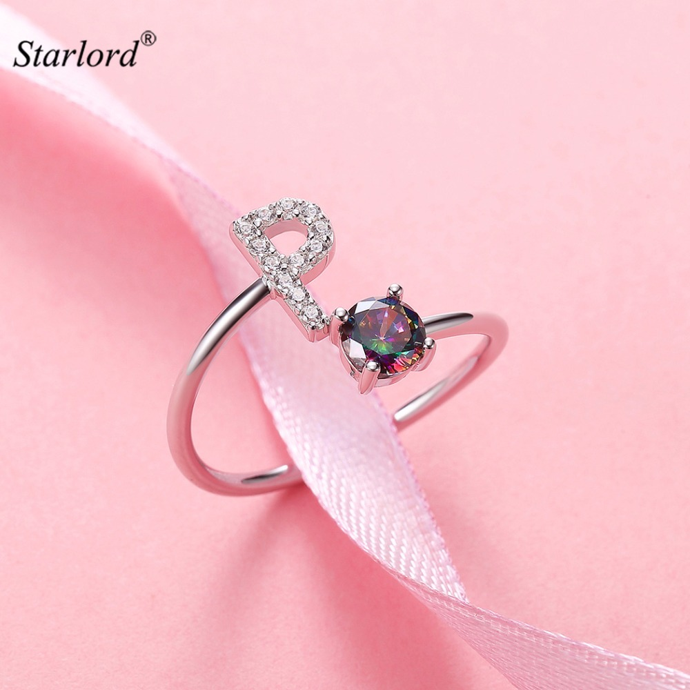 Initial P Letter Ring 925 Sterling Silver Cubic Zirconia Crystal ...