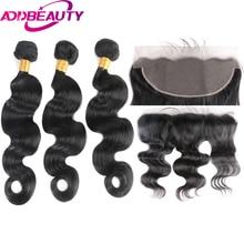 Addbeauty Реми бразильские Для тела волна Человеческие Волосы Связки с 13*4 Накладные пряди на кружеве для передней части головы для салона длинные волосы PCT20 % волос Бесплатная доставка