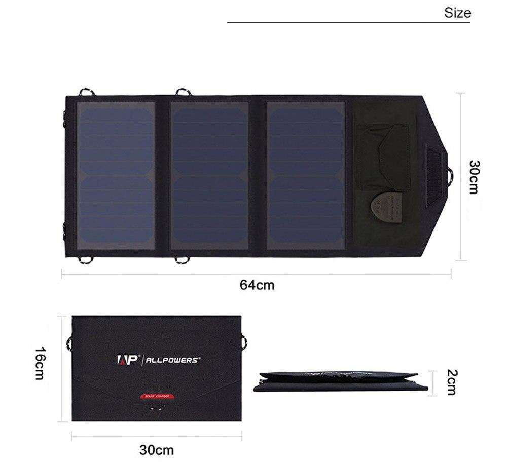 ALLPOWERS extérieur Portable 5 V 21 W pliable étanche Camping panneau solaire chargeur USB Mobile batterie externe pour batterie de téléphone